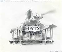 Original Concept Drawing of the Hat Store from Rango (2011)