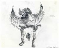 Original Character Drawing of Saloon Mountain Crow from Rango (2011)