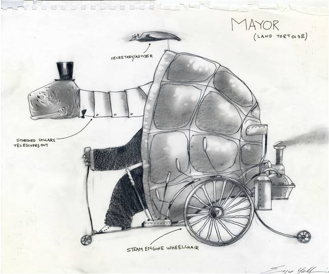 Original Character Drawing of the Mayor from Rango (2011)