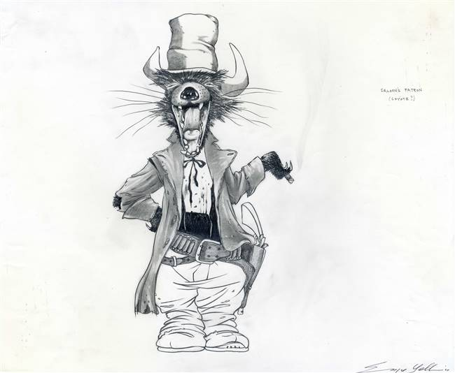 Original Character Drawing of Saloon's Patron (Coyote) from Rango (2011)