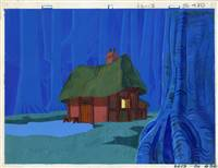 Original Production Background of a House from Famous Adventures of Mr Magoo: Robin Hood