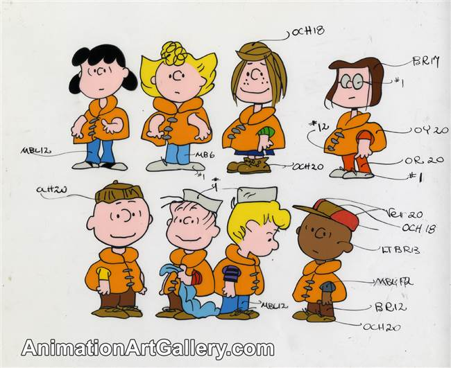 Color Model Cel of Charlie Brown and some Peanuts Characters from Race for Your Life, Charlie Brown