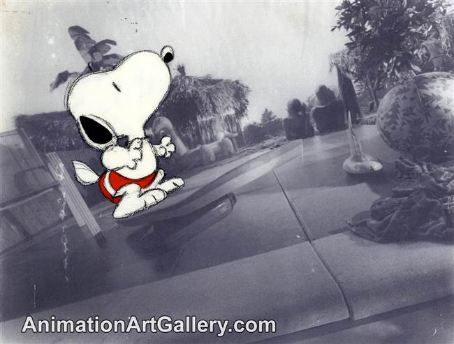 Production Cel of Snoopy from a Met Life commercial