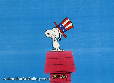 Production Cel of Snoopy from Peanuts (c. 1960s/1970s)