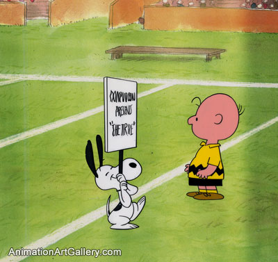 Production Cel of Charlie Brown and Snoopy from Peanuts (c. 1960s/1970s)