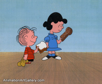 Production Cel of Linus and Lucy Van Pelt from Peanuts (c. 1960s/1970s)