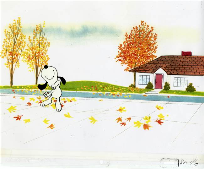 "Original Production Cel of Snoopy from ""Bon Voyage, Charlie Brown"""