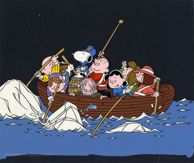 Original Publicity Cel of Snoopy and the Peanuts Gang Crossing the Delaware