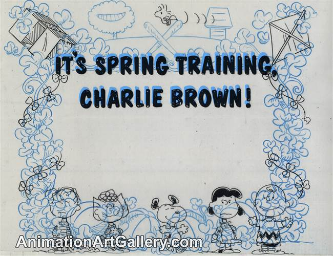 Title Card Cel of Snoopy and Woodstock from It's Spring Training, Charlie Brown