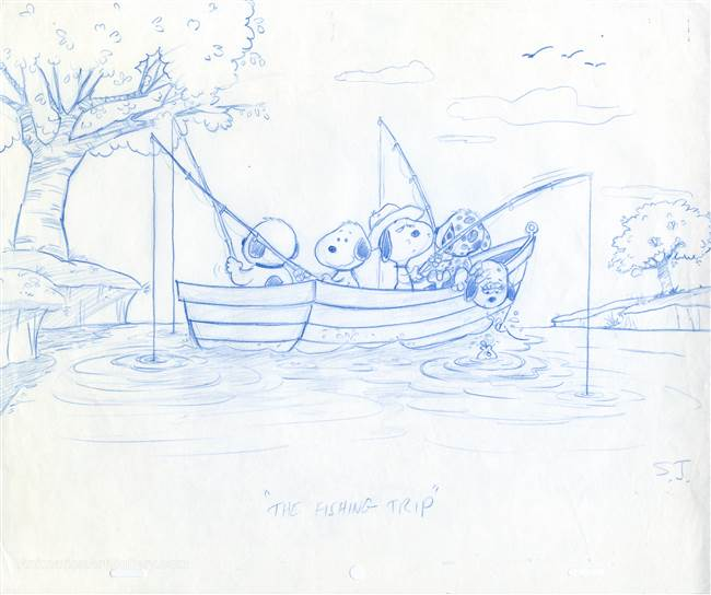 Original Publicity Drawing of Snoopy and Dogs Fishing from The Peanuts
