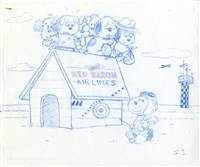 Original Publicity Drawing of Snoopy and Dogs Flying Red Baron Airlines from The Peanuts