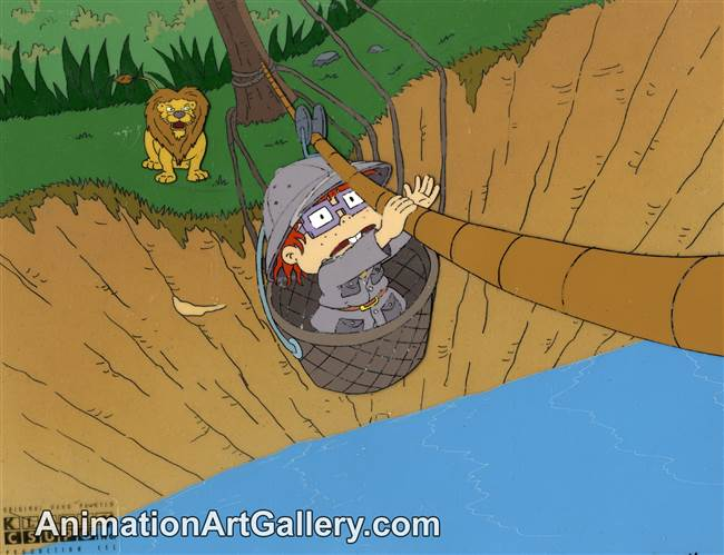 Production Cel and Production Background of Chuckie and a lion from Rugrats (1990s)