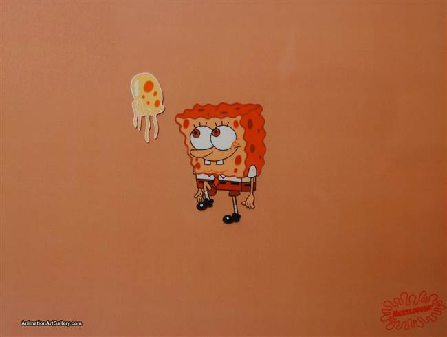 Production Cel of SpongeBob SquarePants with a jellyfish - SBC91