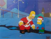 Production Cel of Homer Simpson and Bart Simpson from Simpsons Roasting on an Open Fire