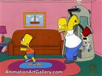 Production Cel of Homer Simpson and Bart Simpson from Treehouse of Horror VIII