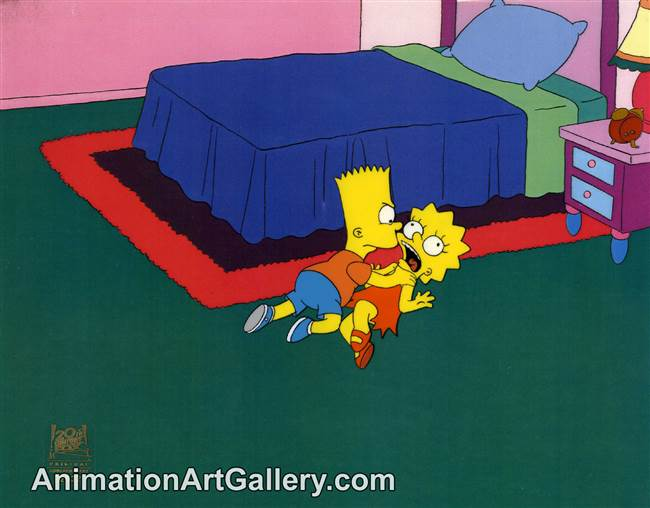 Production Cel of Bart Simpson and Lisa Simpson from Lisa on Ice