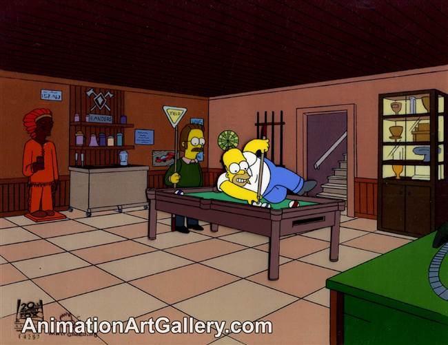 Production Cel of Homer Simpson and Ned Flanders from Homer Loves Flanders