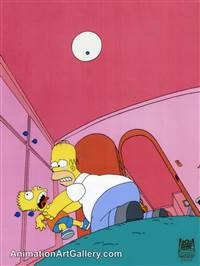 Production Cel of Homer Simpson and Bart Simpson from Half Decent Proposal
