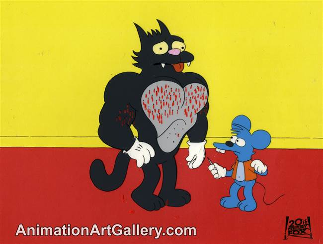 Production Cel of Itchy and Scratchy from Itchy and Scratchy Land