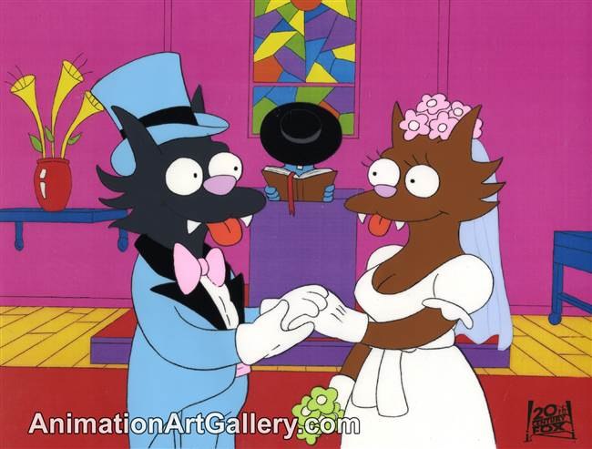 Production Cel of Scratchy and Itchy from Bart's Friend Falls in Love