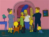 Original Production cel of the Simpson Family and two Social workers from Home Sweet Homediddily-Dum-Doodily