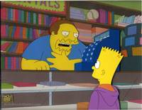 Original Production Cel of Comic Book Guy and Bart Simpson from Marge be not Proud