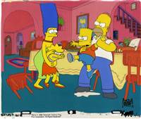 Original Production Cel of Homer, Marge, Bart and Lisa from Bart vs. Thanksgiving