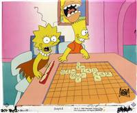 Original production cel of Bart and Lisa playing Scrabble from Bart The Genius (1990)