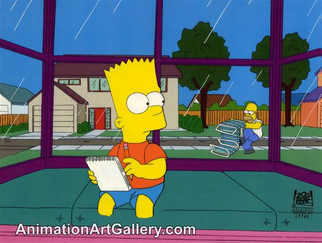 Production Cel of Bart Simpson and Homer Simpson from I Am Furious Yellow