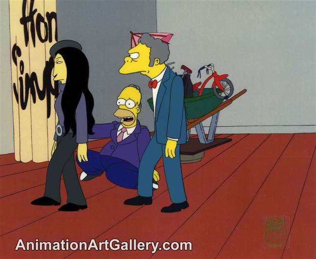 Production Cel of Homer Simpson and Moe from Mom and Pop Art