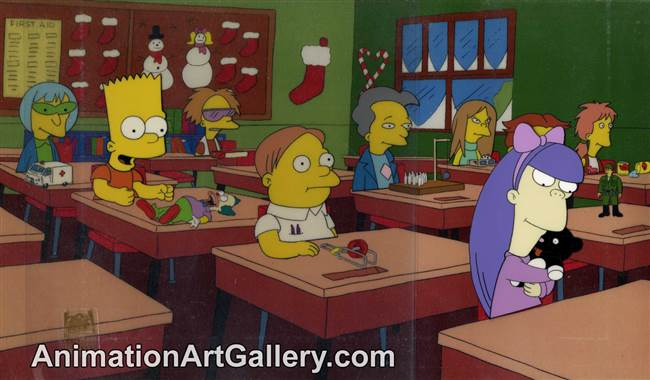 Production Cel of Bart Simpson and Martin Prince from The Grift of the Magi