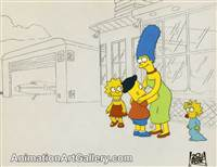 Production Cel of Bart Simpson and Marge Simpson from The Crepes of Wrath
