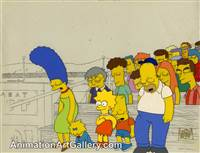 Production Cel of the Simpson Family from Dancin' Homer