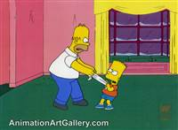 Production Cel of Homer Simpson and Bart Simpson from Miracle on Evergreen Terrace