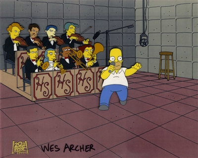 Production Cel of Homer Simpson and an orchestra from The Simpsons (1993)