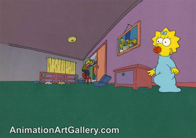 Production Cel of Maggie Simpson and Ms. Botz from Some Enchanted Evening (The Simpsons)