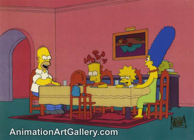 Production Cel of the Simpson Family from When Flanders Failed
