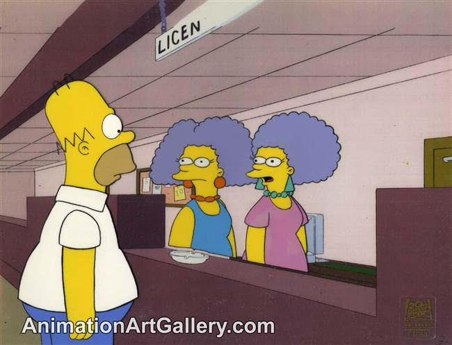 Production Cel of Homer Simpson and Patty and Selma from Homer vs Patty and Selma