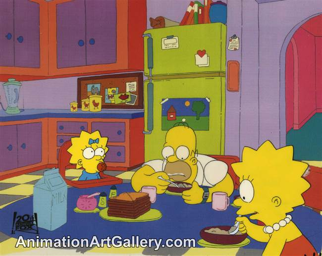 Production Cel of Homer Simpson and Lisa Simpson from Two Cars in Every Garage and Three Eyes on Every Fish