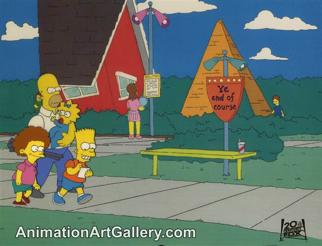 Production Cel of Homer Simpson and Bart Simpson from Dead Putting Society