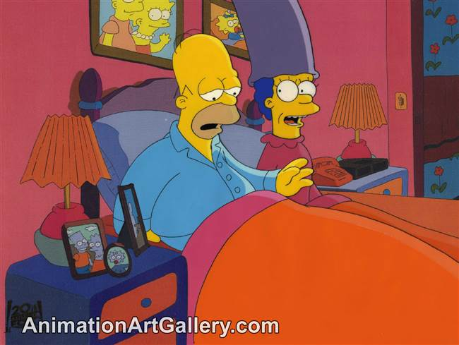 Production Cel of Homer Simpson and Marge Simpson from Principal Charming