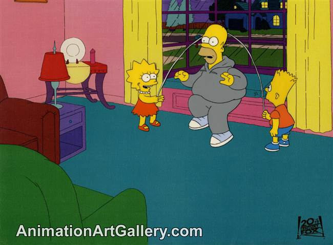 Production Cel of Homer Simpson and Lisa Simpson from Brush with Greatness