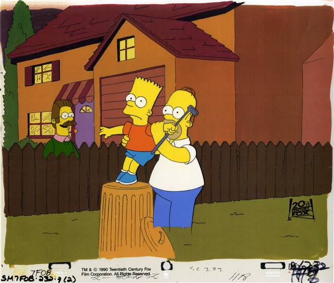 Original Production Cel Homer Simpson, Bart and Flanders From Dead Putting Society