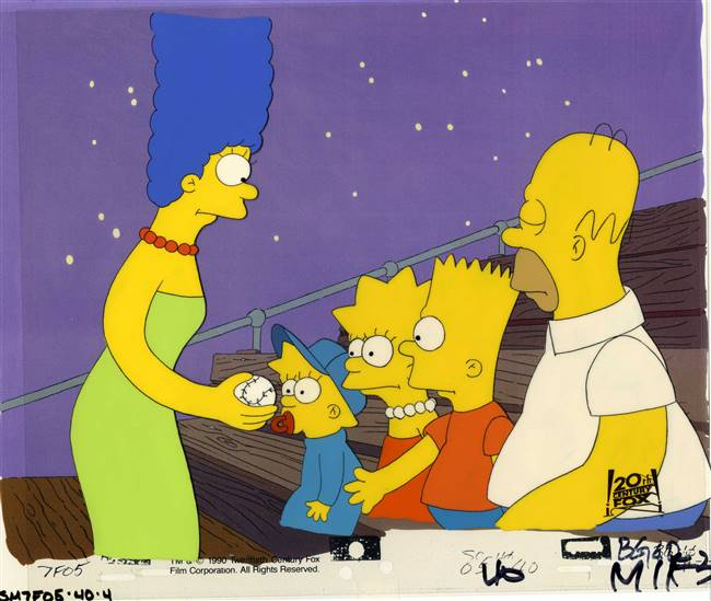 Original Production Cel of the Simpson Family from Dancin' Homer