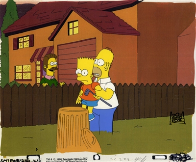 Original Production Cel of Homer, Bart, and Ned from Dead Putting Society (1990)