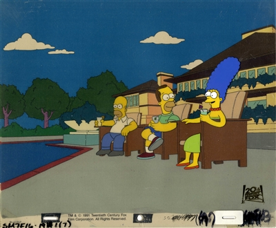 Original Production Cel of Herb, Marge and Homer Simpson from Oh Brother, Where Art Thou (1991)