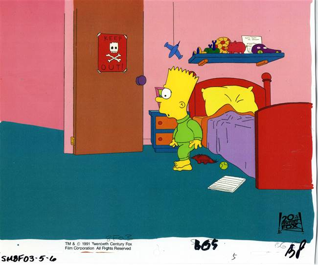 Original Production Cel of Bart Simpson from Bart the Murderer (1991)
