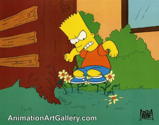 Production Cel of Bart Simpson from Saturdays of Thunder