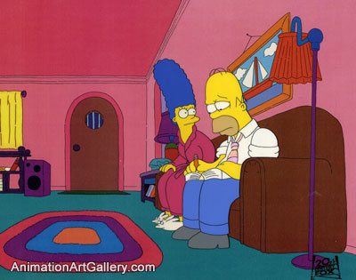 Production Cel of Homer Simpson and Marge Simpson from Oh Brother, Where Art Thou?