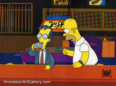 Production Cel of Homer Simpson and a man from Lisa's Pony